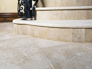 Honed limestone floor and stairs