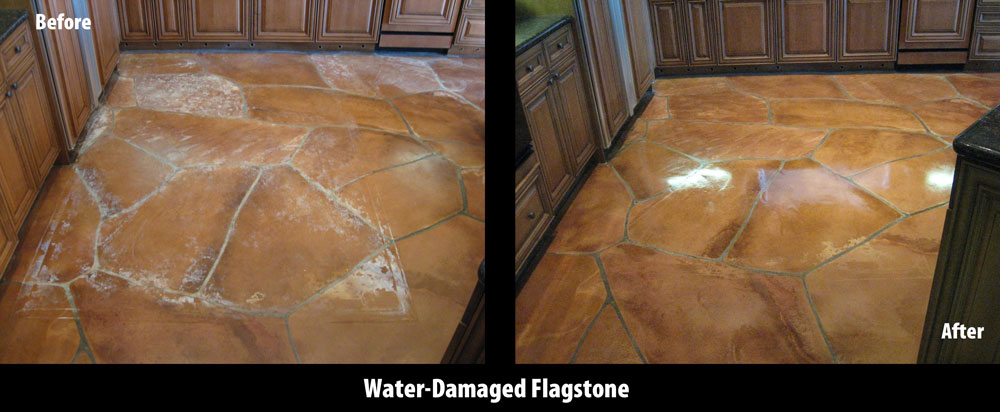 flagstone kitchen, before and after