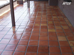 Saltillo tile floor - cleaned and sealed