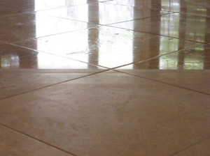 Marble tile floor with a hi-gloss finish
